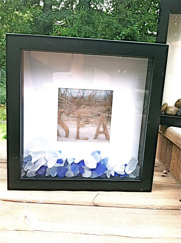 Shadow Box Photo Sea Glass Frame Bricolages Pinterest