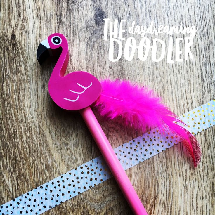 The Daydreaming Doodler — Flamingo Pencil and Eraser