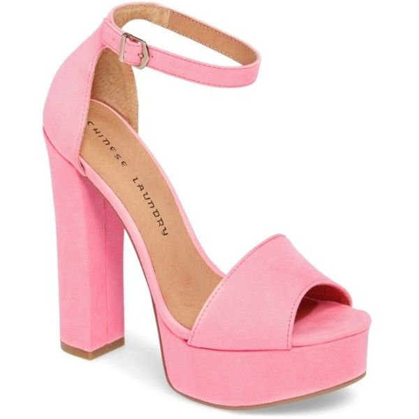 Women's Chinese Laundry 'Avenue' Sandal ($70) ❤ liked on Polyvore featuring shoes, sandals, shocking pink, retro shoes, retro platform shoes, pink platform shoes, pink shoes and pink platform sandals