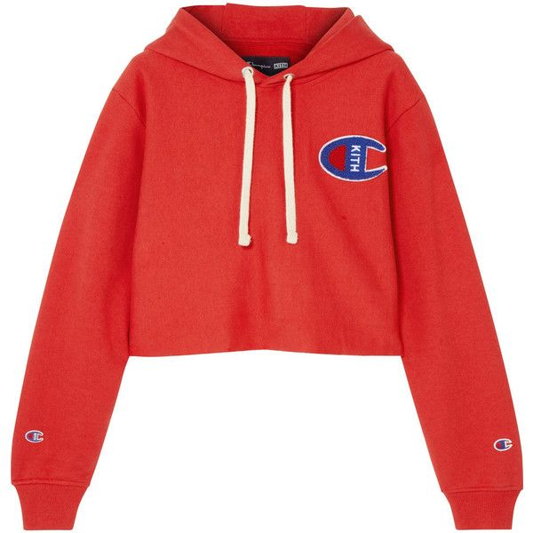 Kith + Champion Nia cropped appliquéd cotton-jersey hooded top (5,085 THB) ❤ liked on Polyvore featuring tops, hoodies, red, sport hoodies, hooded top, sports crop tops, red crop top and hooded crop top