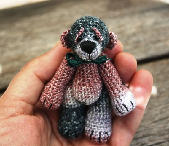 Meet Teddy Mactavish a Mini Bear of Thread by AfricanDaisyCrochet, $25.00 SOLD