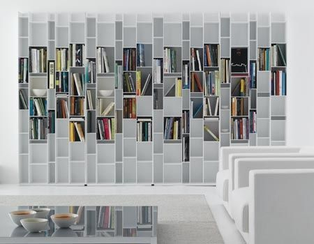 Contemporary lacquered bookcase RANDOM by Neuland Industriedesign MDF Italia