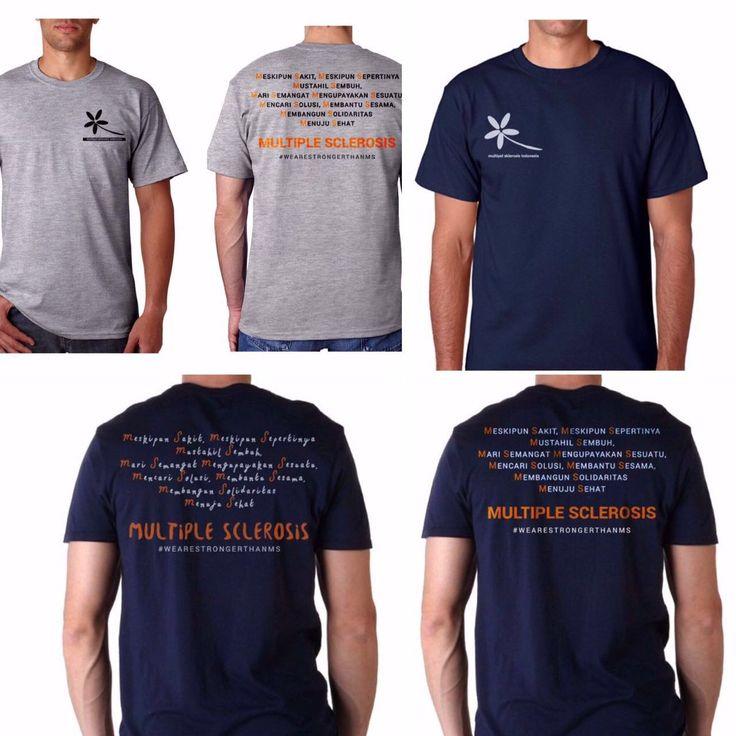 "Pada t-shirt tanpa kerah ini, tdpt logo YMSI, di bagian dada. Pada punggung/ belakang terdapat kata-kata penyemangat bagi penderita penyakit MS, yaitu: ""Meskipun Sakit, Meskipun Sepertinya Mustahil Sembuh, Mari Semangat Mengupayakan Sesuatu, Mencari Solusi , Membantu Sesama, Membangun Solidaritas, Menuju Sehat"" MULTIPLE SCLEROSIS #WeAreStrongerThanMS Anda dapat berdonasi pada para penyandang penyakit MS dengan membeli kaos ini seharga Rp 150.000/pcs."