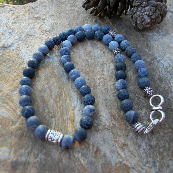 Men's beaded necklace mens jewelry blue by SongbirdCabinDesigns