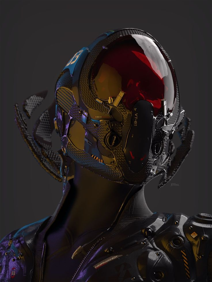 Helmet design jojo post digi helmet cyberpunk android for Sci fi decor