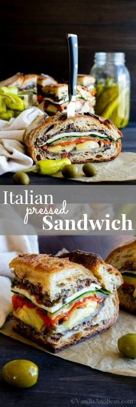 Vegetarian or Vegan, this Italian Pressed Sandwich is a make ahead, feeds a small crowd nourishing and flavor packed sandwich you'll be making again and again! Vegan Recipes   Vegetarian Recipes