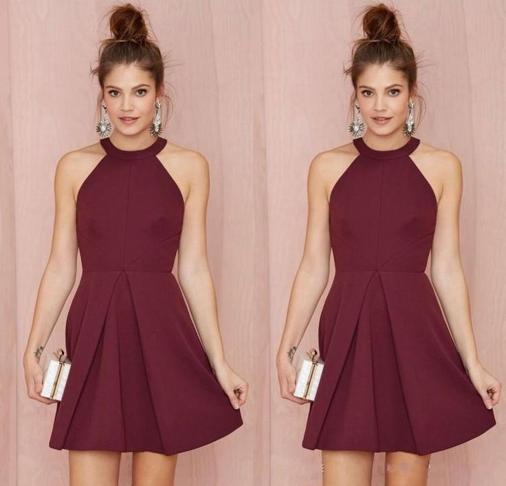 Cheap Short Bridesmaid Dresses Homecoming Dresses Burgundy Halter Short Prom Dresses for Junior Bridesmaid Dress 2016 Plus Size Dress J107 Online with $87.96/Piece on Caradress's Store | DHgate.com