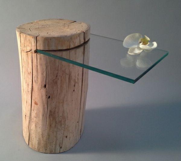 table de chevet en bois flotte et verre