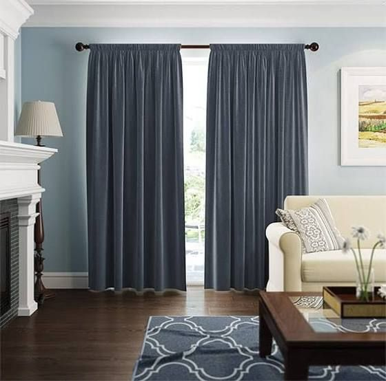 blue grey walls what color curtains | Green curtains ...