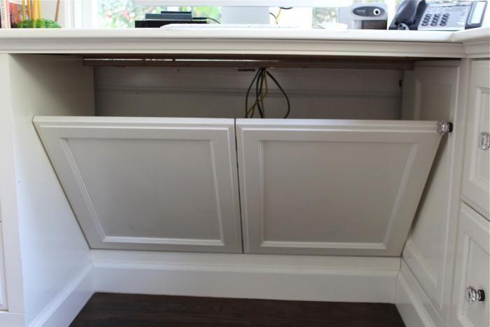 false panel behind desk to hide cords via Gardenista
