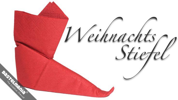 SERVIETTEN FALTEN Anleitung Stiefel Weihnachten DIY NAPKIN FOLDING Instruction Boots
