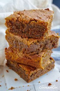 Vegan and Paleo Pumpkin Spice Blondies that are to die for! So easy to make - only one bowl. Recipe on NotEnoughCinnamon.com #cleaneating #glutenfree #dairyfree #refinedsugarfree #grainfree