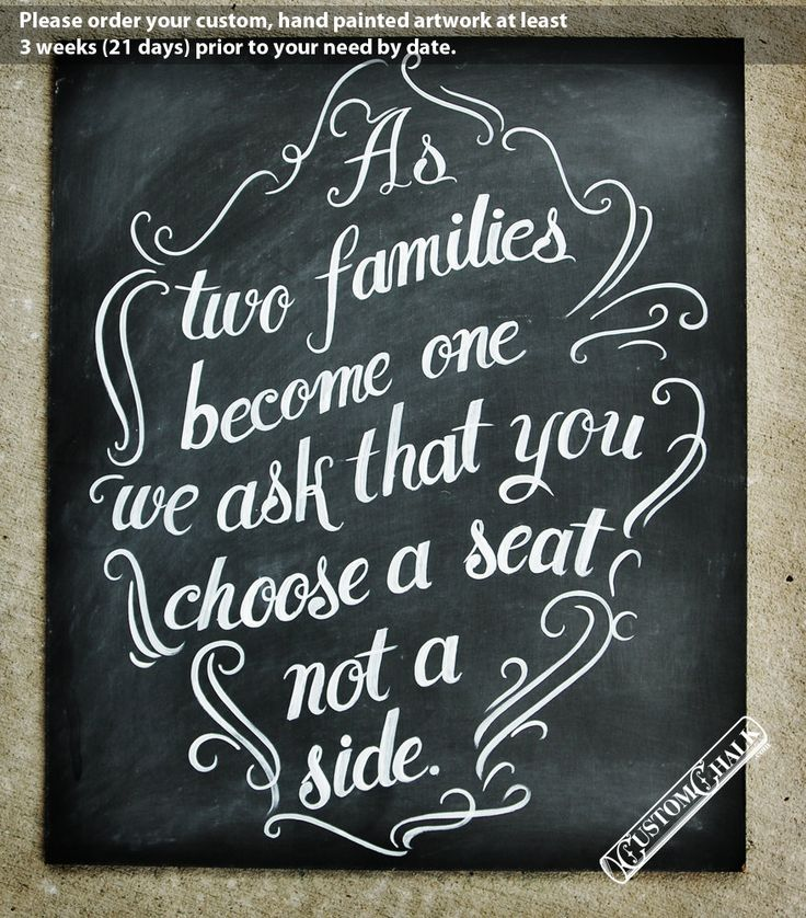 Wedding Seating Sign - As Two Families Become One - Chalkboard Seating Chart. $149.00, via Etsy.