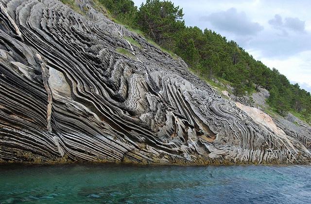 Extraordinary rock formation seen at Saltstraumen, near Bodo in northern Norway