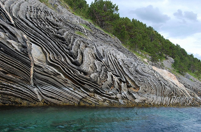 Extraordinary rock formation seen at Saltstraumen, near Bodo in northern Norway