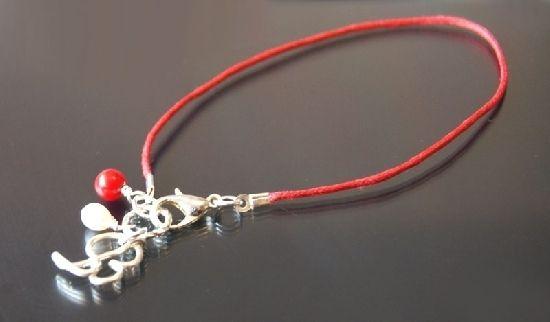 Bratara Kabbalah, din bumbac, martisor, cu initiala placata cu argint, coral rosu si perle de cultura albe - Cod M19I, by BanaDesigns, 7 Lei