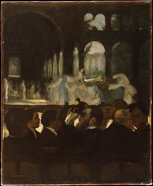 """Edgar Degas (French, 1834–1917). The Ballet from """"Robert le Diable,"""" 1871. The Metropolitan Museum of Art, New York. H. O. Havemeyer Collection, Bequest of Mrs. H. O. Havemeyer, 1929 (29.100.552)   When Degas made this picture in 1871, Giacomo Meyerbeer's opera Robert le Diable was forty years old and feeling its age—as reflected by the man at center, indifferent to the action and directing his binoculars at the audience. #paris"""
