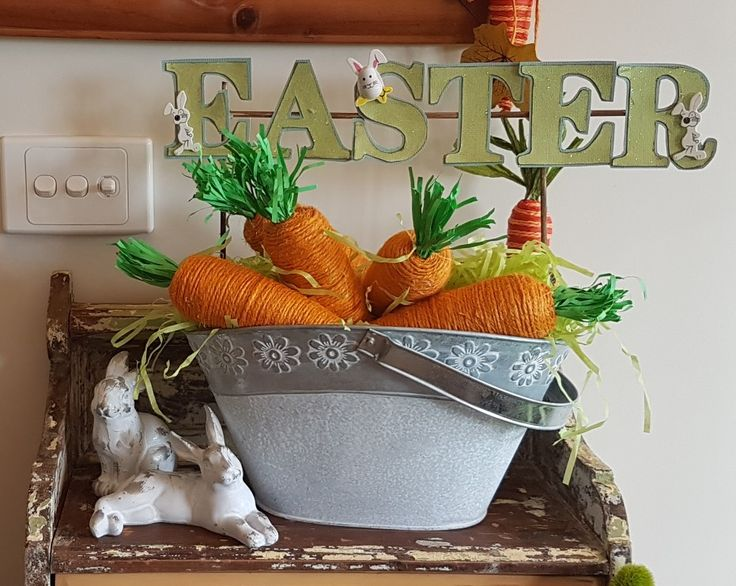Part of my front entrance Easter decor with more of my diy carrots. (carrot overload)