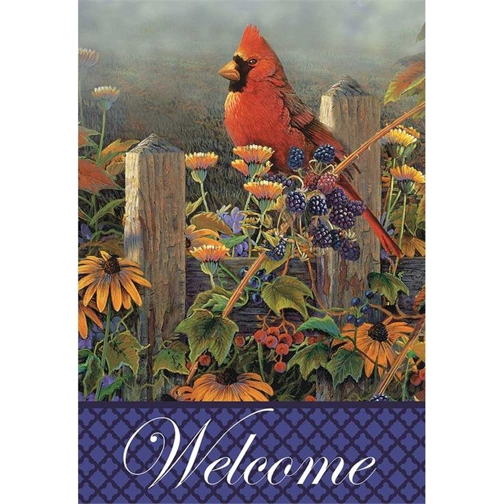 The Wildflowers and Cardinal Flag is printed, standard size, and looks great hanging off a cabin porch.
