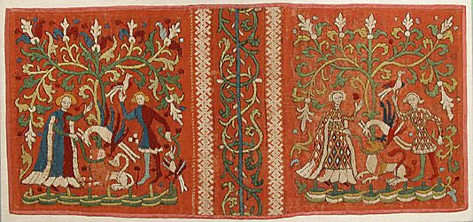 Embroideries with Allegorical Scenes, ca. 1450, Made in, Lower Saxony, Germany, Silk and linen on woven linen ground with applied red pigment and black under- and overdrawing, 11 9/16 x 25 in. (29.3 x 63.5 cm)