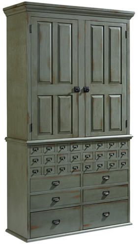 Styled after an early office piece, Joanna's File Cabinet Armoire offers lots of different size storage options. It has small file card drawers, deep drawers and adjustable shelves and comes in a dusty grey-green Patina finish with wood tone rubs showing through. Base has 24 small card file drawers Antique pewter color nameplate pulls on drawers Six regular drawers. Hutch sold separately.