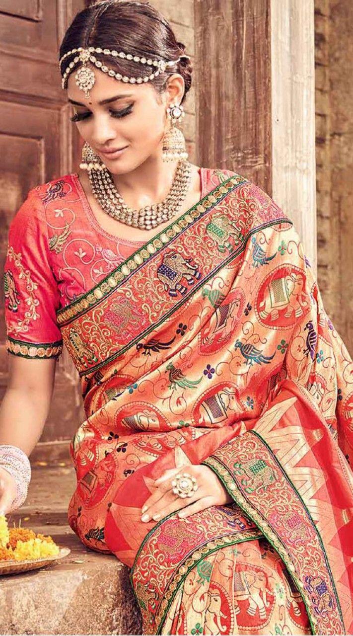 bfca721b9c0bfa Designer peach banarasi pure silk party wear saree comes with matching  blouse piece. Beautiful saree has madhubani work all over, embroidery work  on the ...