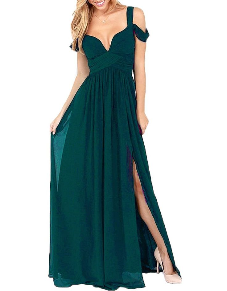 AnKang Elegant Floor Length Chiffon Bridesmaid Side Slit Formal Prom Evening Dresses (10, Burgundy)