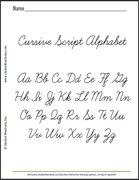 It is a photo of Punchy Cursive Alphabet Printable