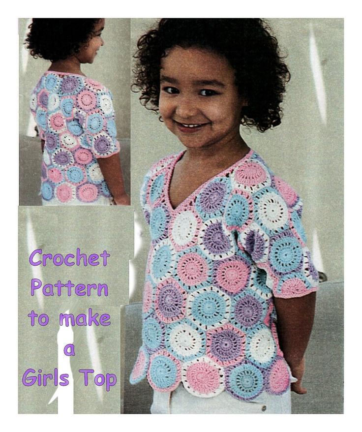 Granny Square Girl Tunic Top Vintage 1970's Crochet Pattern by pdf.  via Etsy.