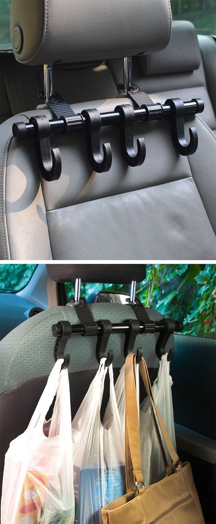 Car headrest multi hanger // brilliant idea, holds grocery bags, handbag, dry cleaning and more! #product_design #organization