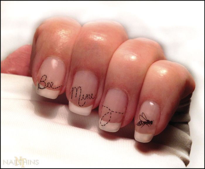 Be Mine Nail Decal by NAILTHINS Bee Valentine Nail Art, Nail Designs