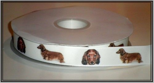 This listing is for 2 continuous yards of 7/8 wide white double faced satin/grosgrain ribbon (your choose, just memo which type youd prefer when checking out)  with beautiful Dachshund (Doxen) dogs pr