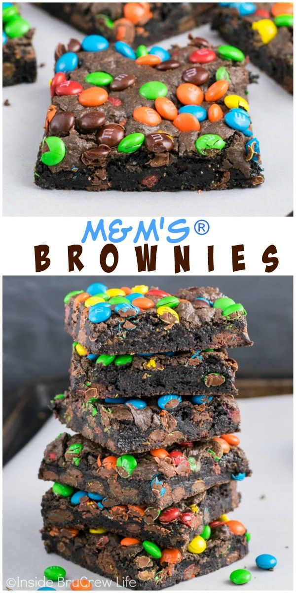 Homemade brownies with mini M&M's candies inside and on top is the way to do dessert right!:
