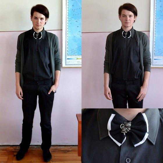 Handmade Double Tie, Zara Green Cardigan, Black Shirt, Black Pants, Black Leather Dress Shoes
