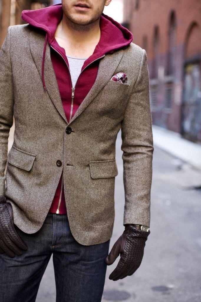 Loving the hoody + blazer combo: Light Pink Blazers, Men Clothing, Style, Colors, Jackets, Men Fashion, Pockets Squares, Gloves, Sports Coats