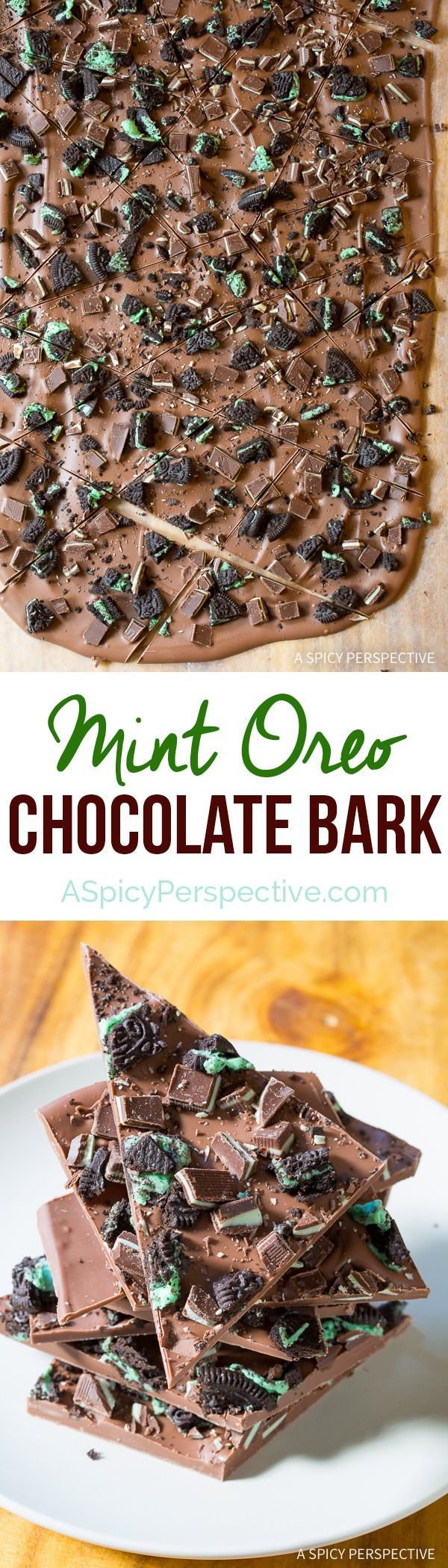 Amazing 3-Ingredient Mint Oreo Chocolate Bark Recipe on http://ASpicyPerspective.com. Gift for holiday parties and edible gifts!