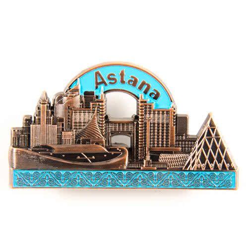 Metal Fridge Magnet: Kazakhstan. Astana View (Bronze Color)