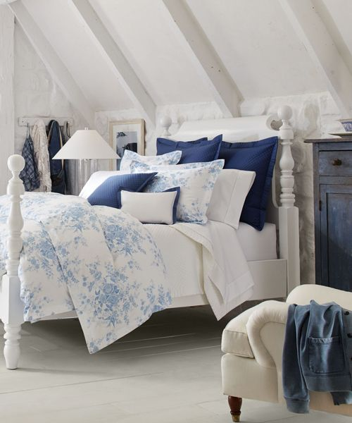 Dauphine Bedding - Ralph Lauren Duvet Ralph Lauren Duvet Cover: Made from incredibly smooth cotton sateen in a serene blue-and-white palette, the Dauphine Collection combines a sophisticated look with pure comfort. Inspired by patterns found on 19th-century English porcelain, this quilted comforter has a delicate floral-and-bird motif in a soothing palette of blue and white that's