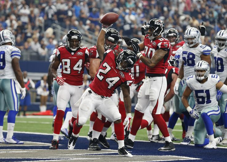 Dallas Cowboys let it slip away v. Falcons -   September 28, 2015 by James Rangel -    Sep 27, 2015; Arlington, TX, USA; Atlanta Falcons running back Devonta Freeman (24) spikes the ball after scoring a touchdown in the second quarter against the Dallas Cowboys at AT&T Stadium. Mandatory Credit: Matthew Emmons-USA TODAY Sports