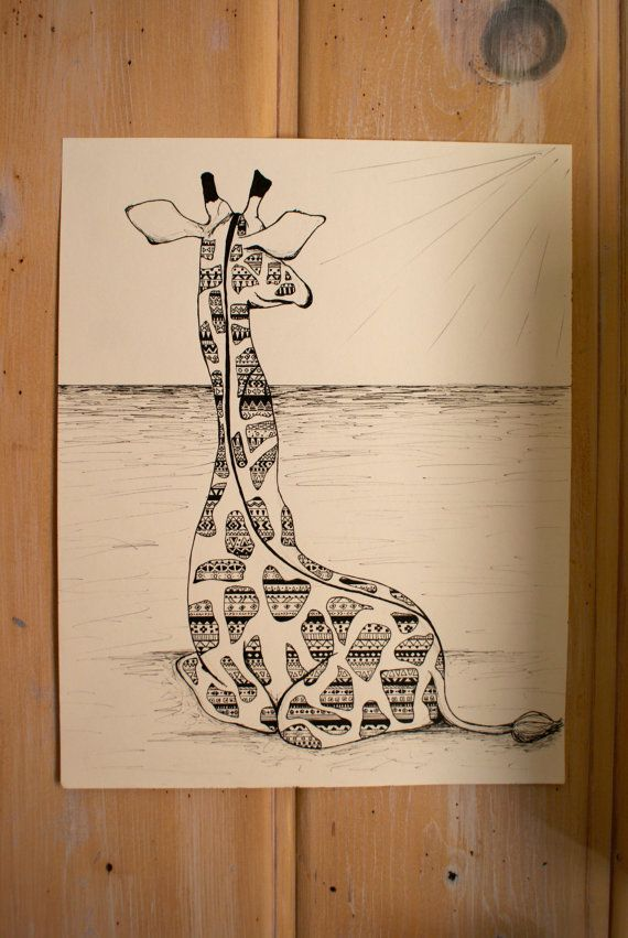 Wild and Free: Bohemian Drawing by ArtByARose on Etsy. $40.00  I LOVE GIRAFFES!  One available!