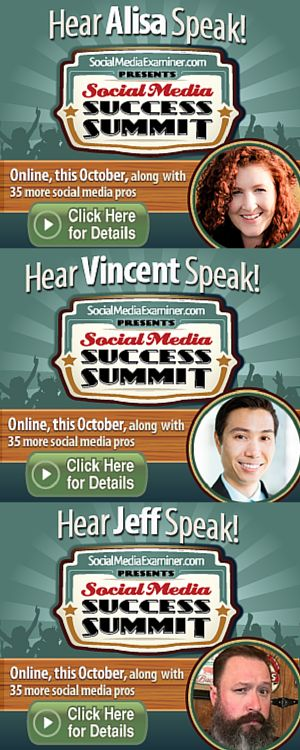 This is definitely exciting join Alisa Meredith, Jeff Sieh and Vincent Ng at Social Media Success Summit. Over 4000 people expected to attend the world's largest online social media conference hosted by Social Media Examiner.