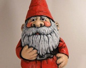 Ceramic Santa Claus Gnome -- 15 inches, hand painted Christmas, lawn or garden gnome, outdoor or indoor