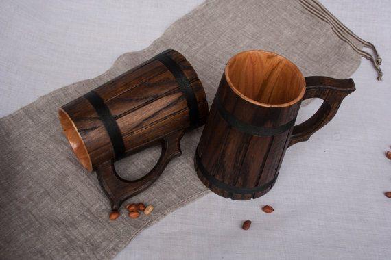 Set of 2  Wooden Beer Mugs 0.7 l 23oz natural wood by oakwoodwork