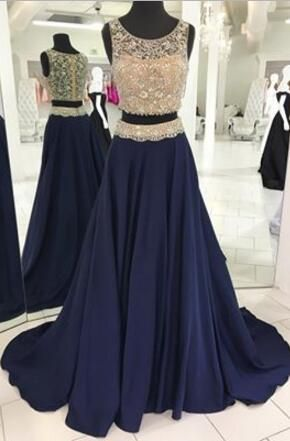 2017 prom dress, two piece prom dress, long prom dress, navy blue prom dress, sparkly long graduation dress