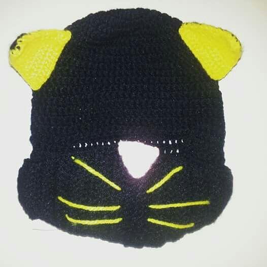 Gorro pasamontañas  modelo gato a crochet