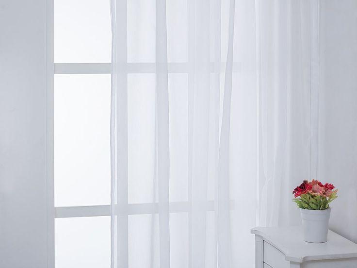 Leah Dokuma Tül 300x260 Beyaz - Tül Perde