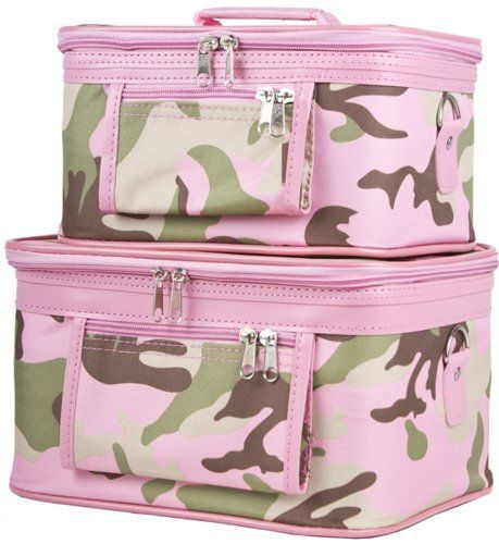 World Traveler 2-Piece Camouflage Print Cosmetic Train Case, Pink Camouflage