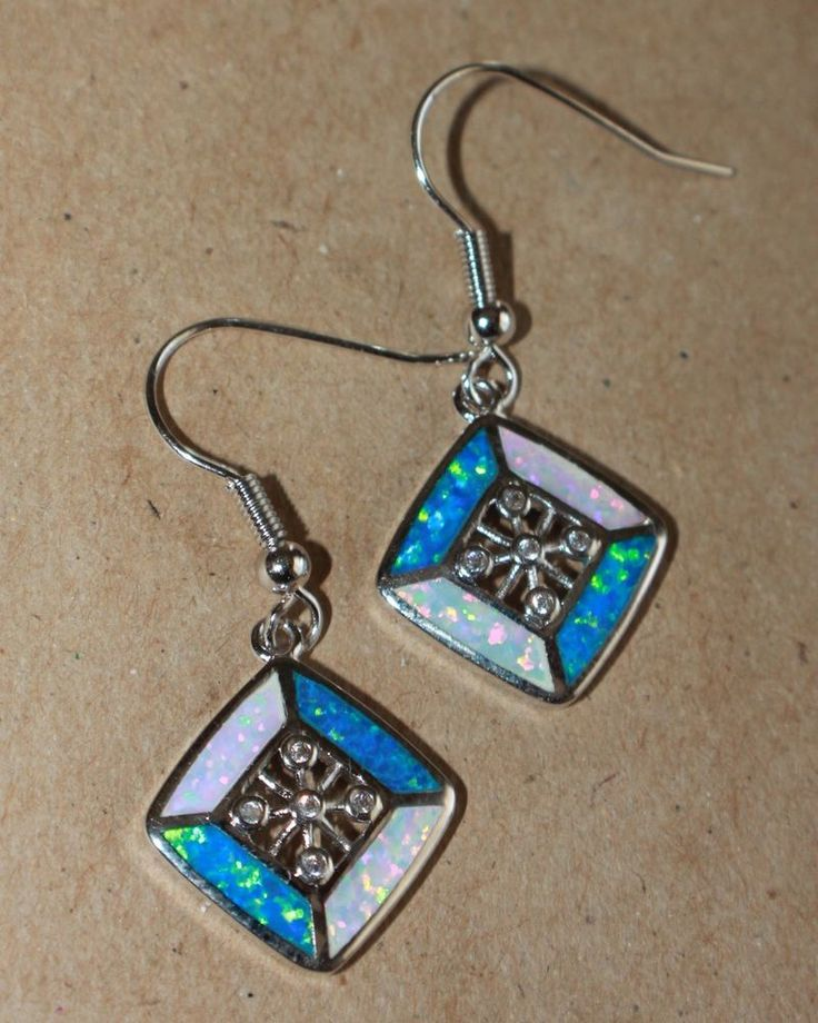 fire opal Cz earrings gemstone silver jewelry chic square cocktail drop/dangle #DropDangle