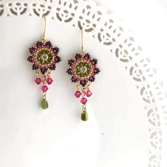 Gift for her Swarovski crystal earring Fuchsia by LioraBJewelry