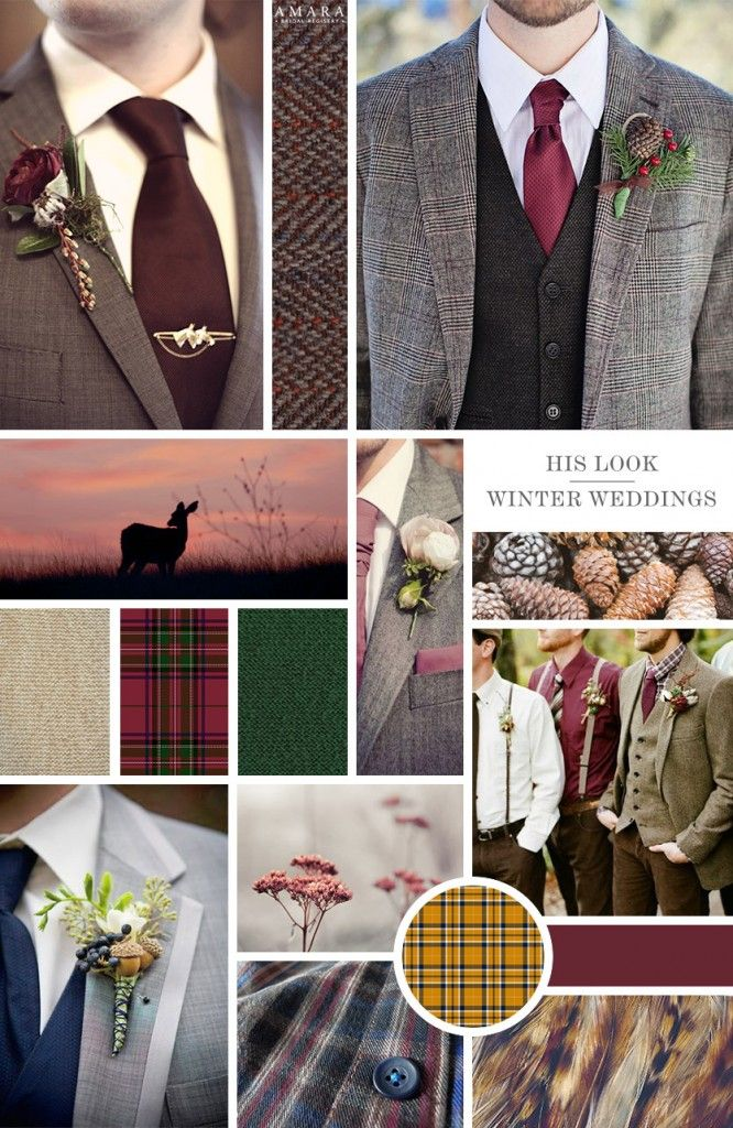 HIS LOOK || With all that frosty glamour, you need a man to cosy up too! Add warmth to his outfit by teaming country tweeds and tartans with seasonal florals.  Rich reds and festive greens are the perfect contrast to an otherwise fairly neutral palette. He'll love it!